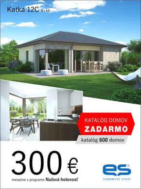 Ekonomické stavby - dom Katka 12C - za 300 eur v programe nulová hotovosť.  Objednaj si katalóg domov zadarmo (katalóg 600 domov).